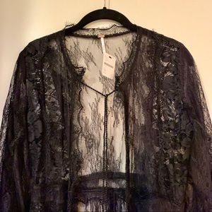 Free People Intimate lace robe duster